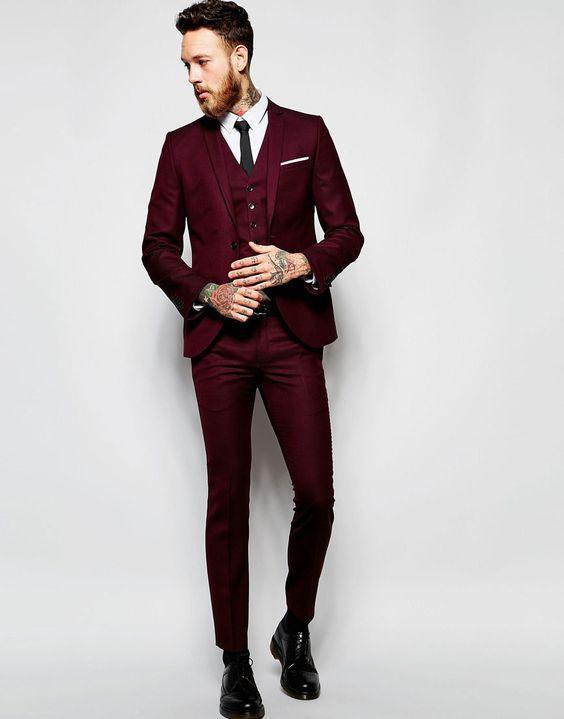 handsome burgundy wedding tuxedos