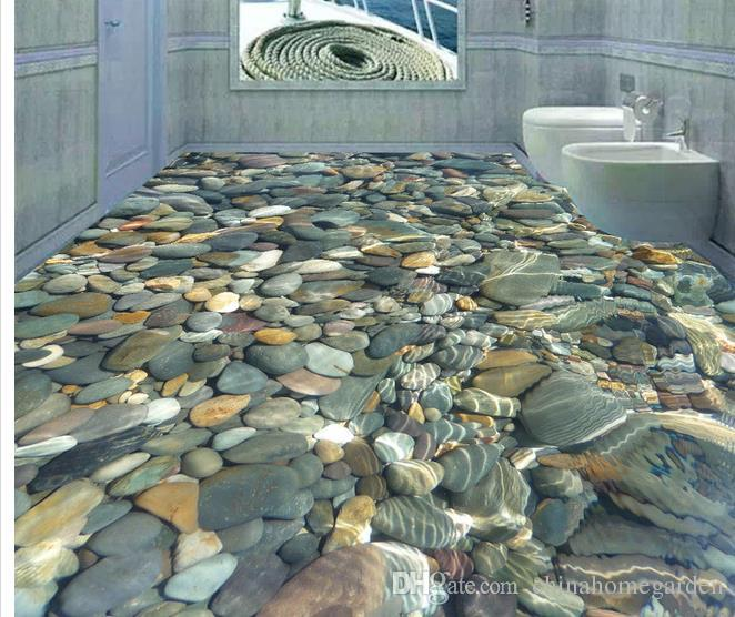 3D Realistic Water Pebble Floor Tile Decorative Painting