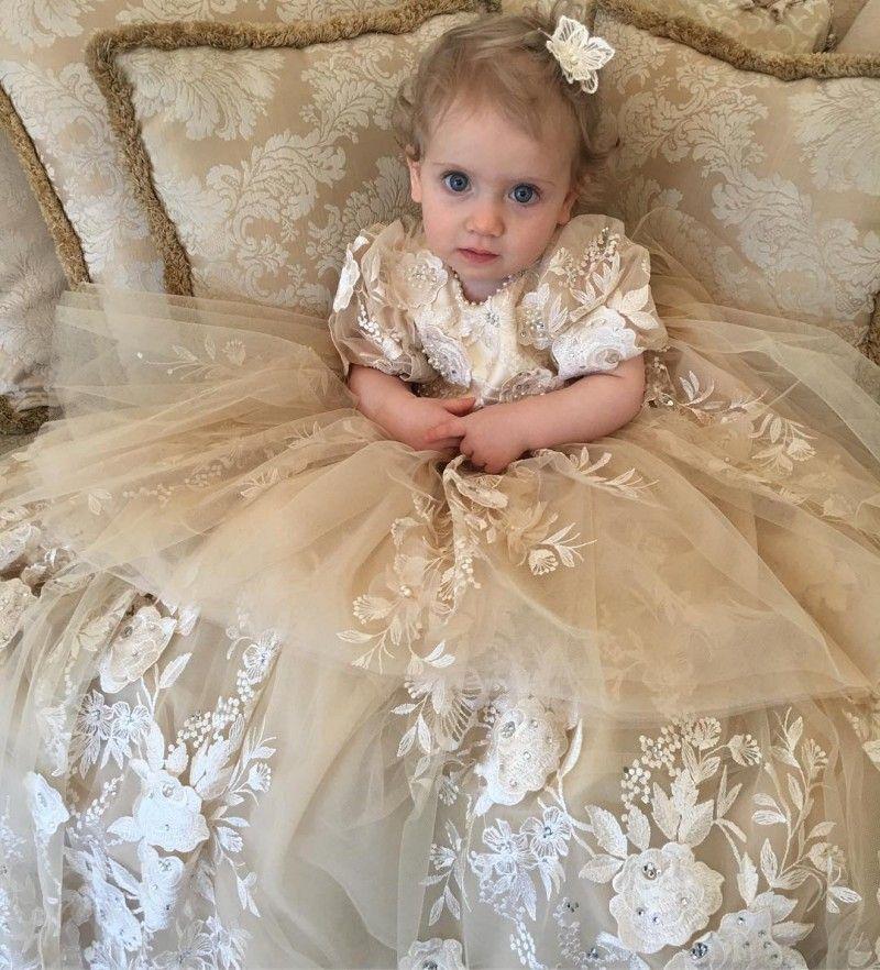pearls champagne christening dress