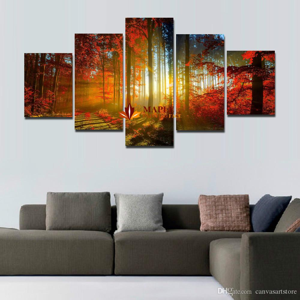 large canvas art for living room how to clean up the fast 5 panel forest painting wall picture home decoration print modern cheap piece
