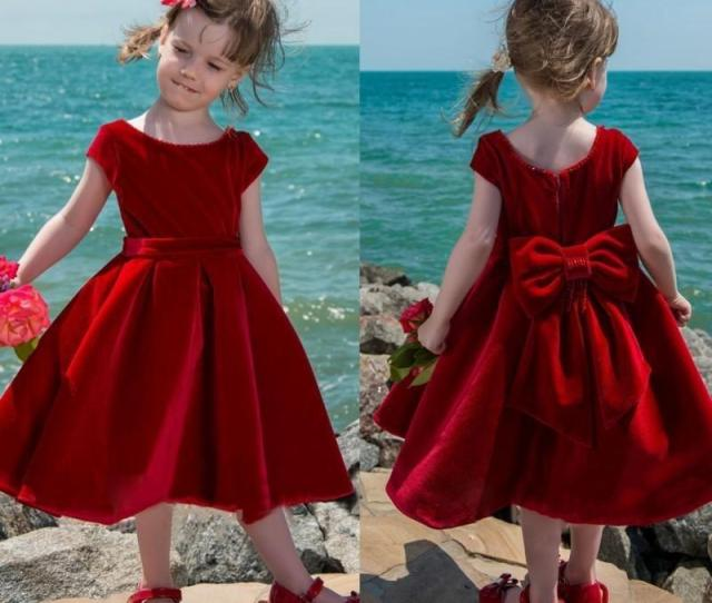 Cute Red Velvet Flower Girl Dress Tea Length Baby Girls Pageant Dresses Toddler Kids Party Dress Short Communion Gowns With Big Bow Back Baby Easter Dresses