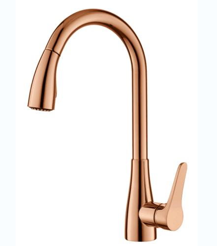 brass faucet kitchen large mats rose gold faucets with pull out sprayer tap single handle 1 hole basin shower handheld round bar online