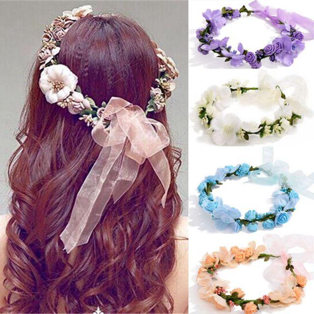 wedding headpiece women fairy crown flower hairband boho floral headdress bride wedding headband