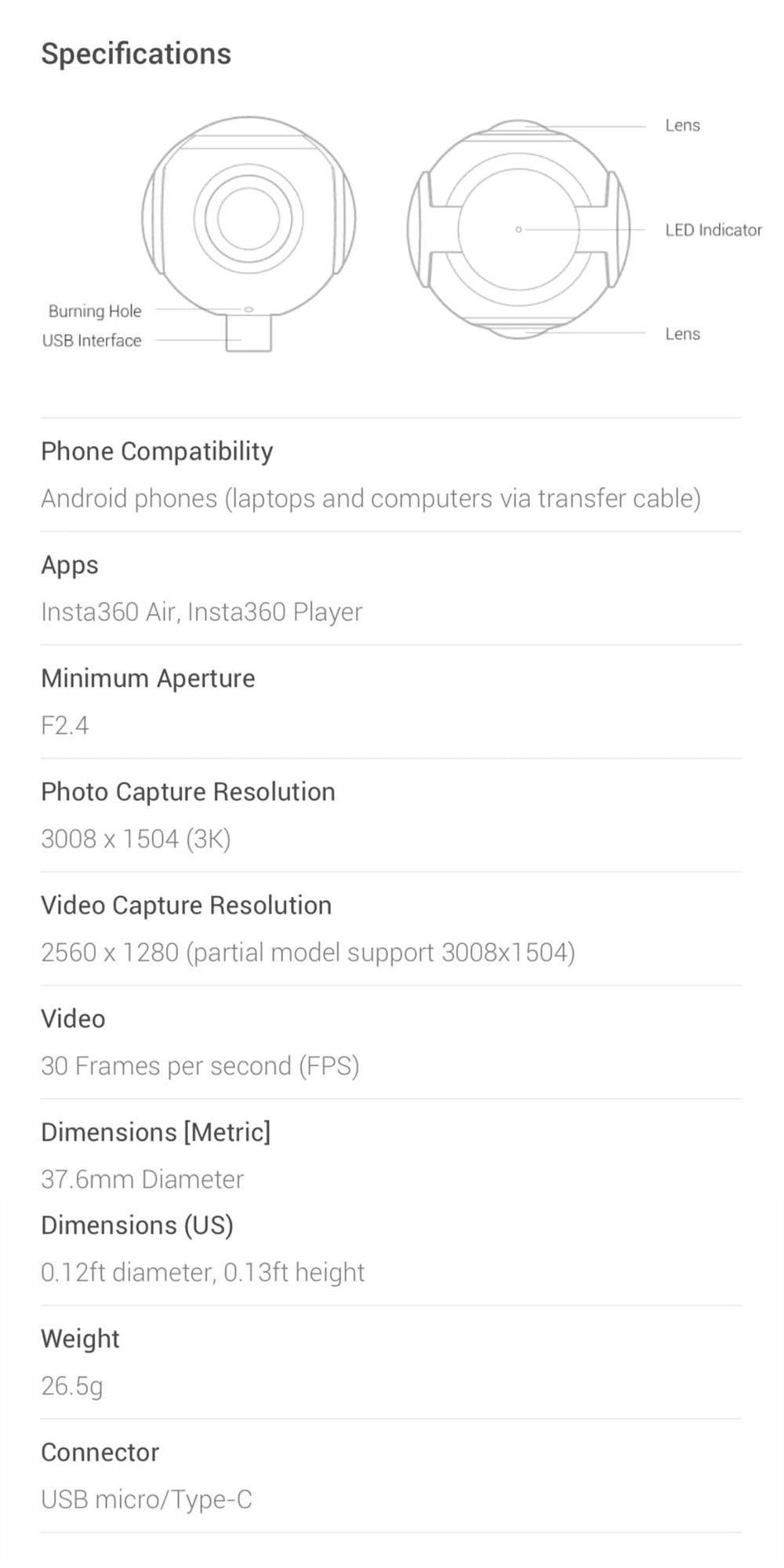 2019 Insta360 Air Panoramic 360 Camera 3K HD Mini Camera