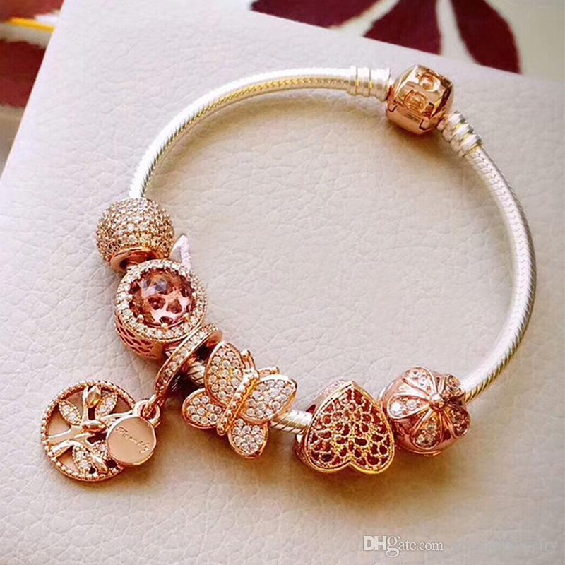Best Gifts 2018 Rose Gold Charm Bracelets Top Quality 925