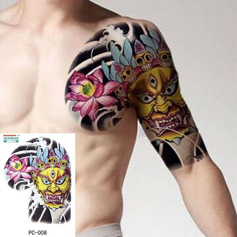 Tatuaje Temporal De Gran Tamaño En El Pecho Cuerpo Brazo Hombro