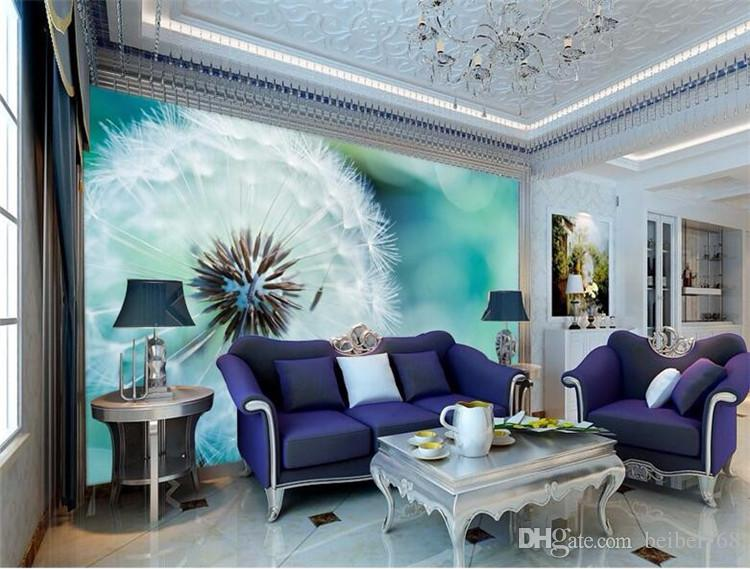 large living room sofas small open kitchen design custom photo wallpaper 3d stereo murals abstract dandelion sofa bed bedroom flash silver cloth canada 2019 from beibei168