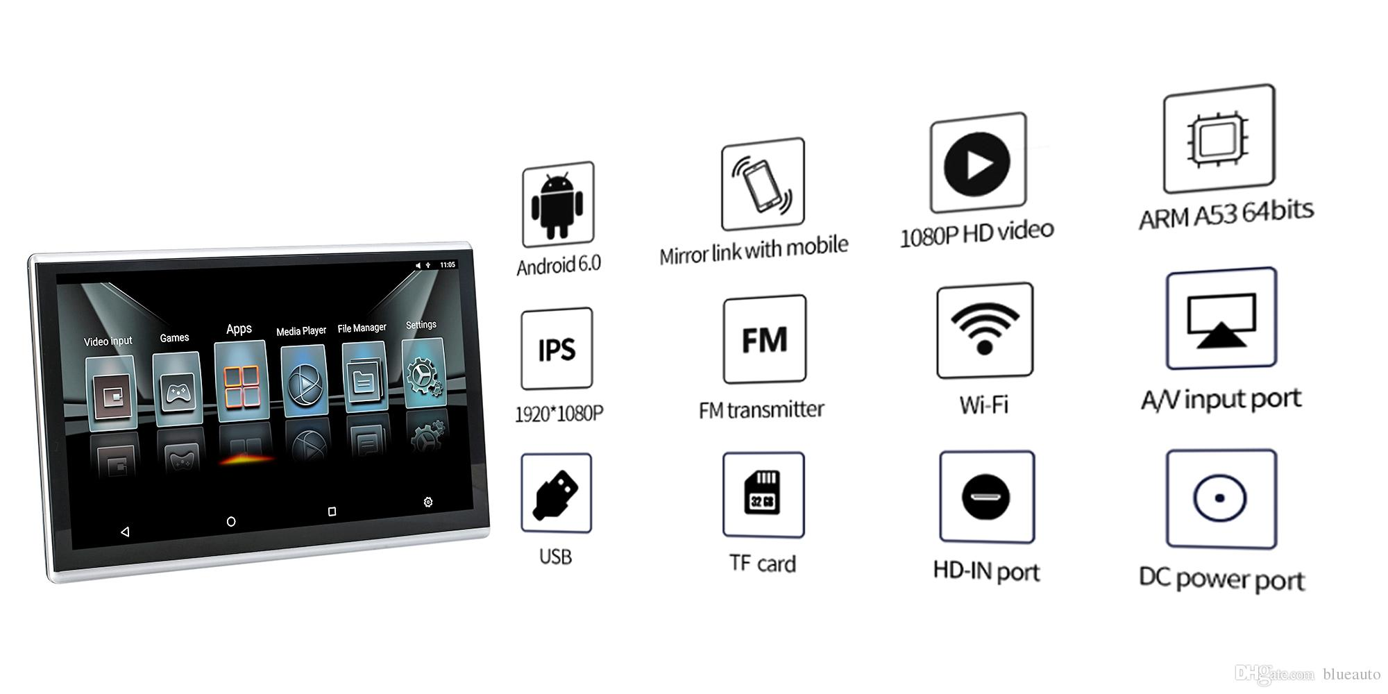 Car Android Headrest Monitor With Bluetooth Aux 11 6
