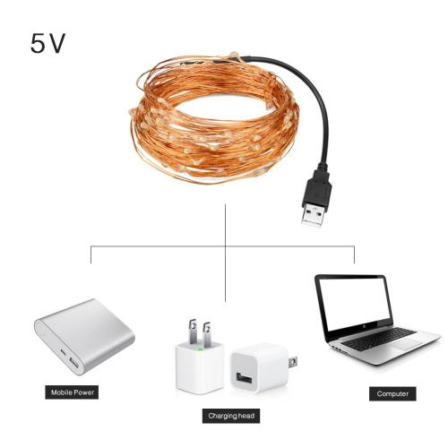 small resolution of 5m 10m copper wire led string light 5v usb power fairy led lamp strip 16 4ft 33ft waterproof christmas party wedding decoration