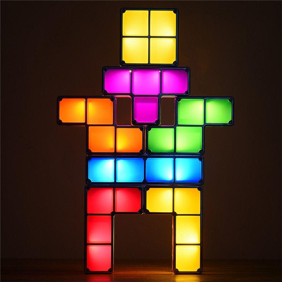 acheter diy tactbit tetris puzzle lumiere empilable led lampe de bureau constructible blocs de construction nuit lumiere retro tour de jeu bebe colore
