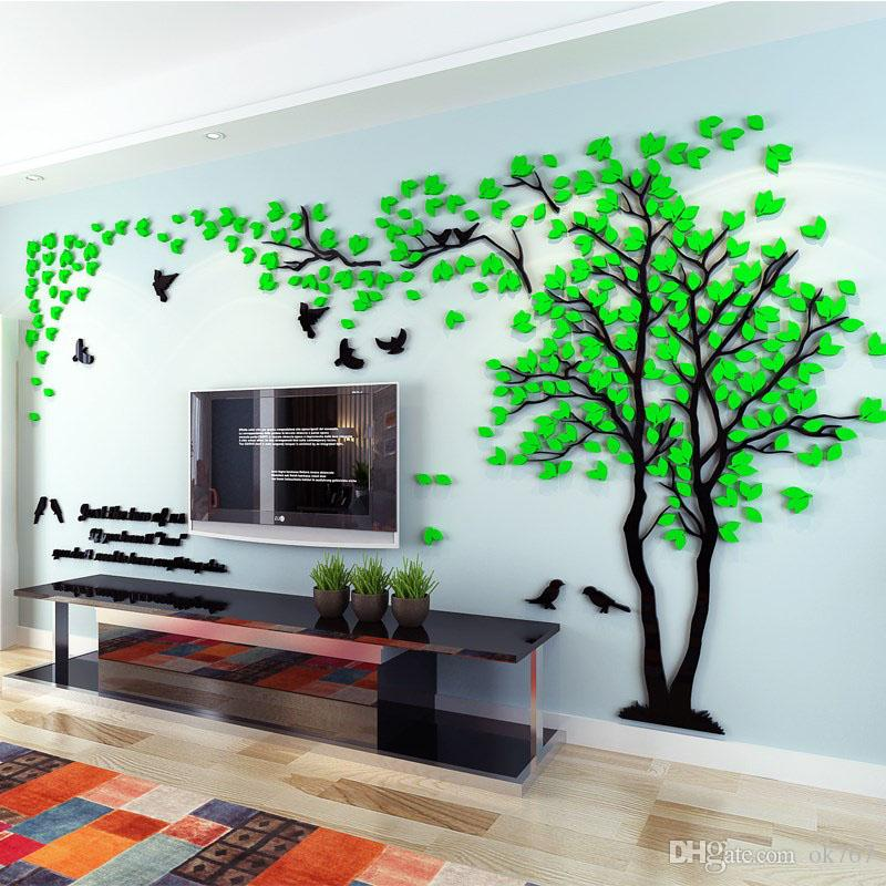 wall stickers living room plaid curtains for wholesale acrylic couple tree bedroom tv 3d diy home decor