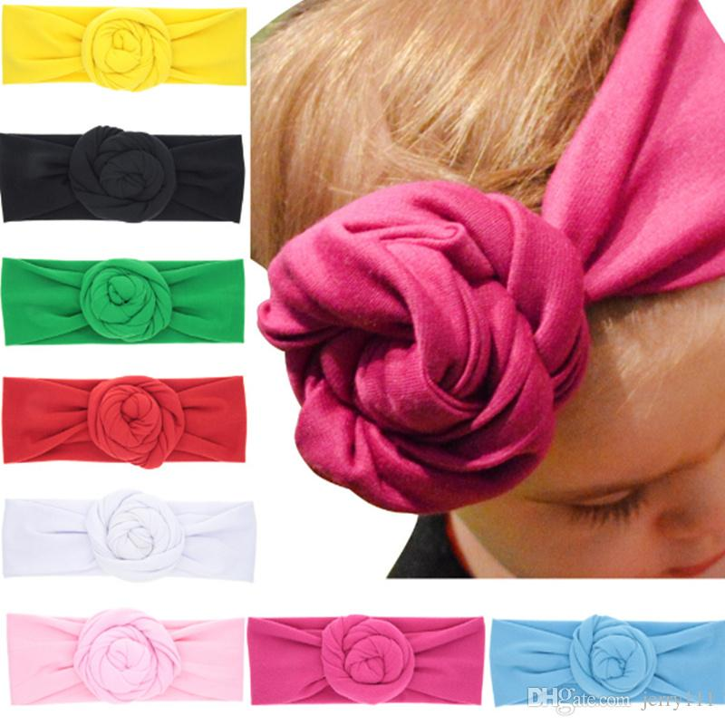 baby top knot rose headband toddler soft turban photography props retro hair accessories girls boys headband wrap lc698 1 little girls hair accessories hair
