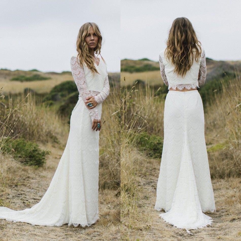 Discount 2018 Modern Long Sleeve Wedding Dresses Two