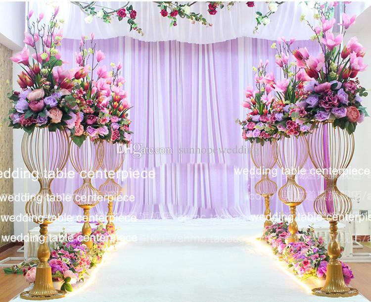 Tall Centerpiece Stands Wholesale /Wedding Aisle Decorations Gold Iron Chorme Pillars/Wedding