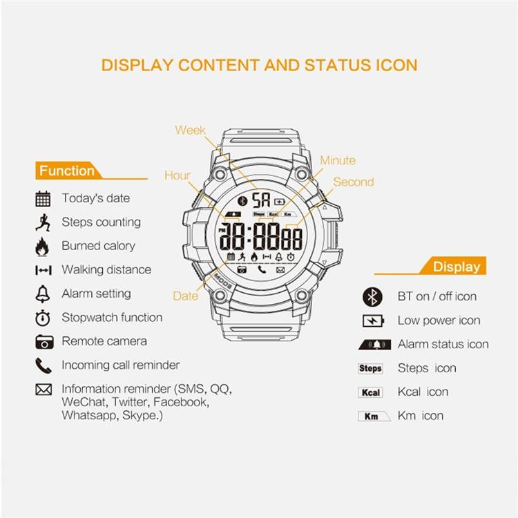 EX16 Sports Smart Watch Bluetooth IP67 Waterproof Remote