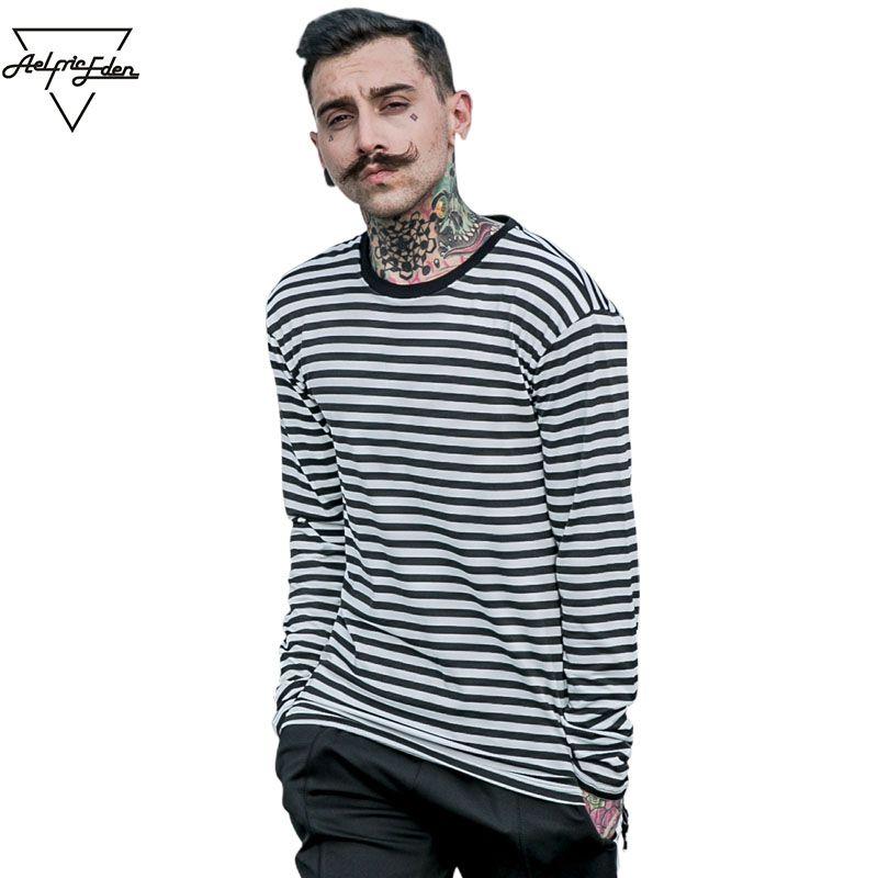 Aelfric Eden Korea Frühling Neue Gestreifte T Shirt Lässige Herren Baumwolle Gestreifte Langarm T Shirt Herrenmode Schwarz Weiß T Shirt