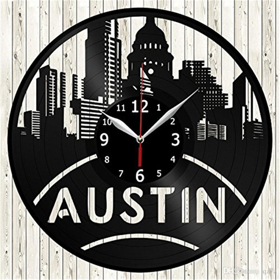 blue kitchen wall clocks lowes cabinets in stock austin usa vinyl record clock modern home decor personality living room decoration creative art christmas handmade gift