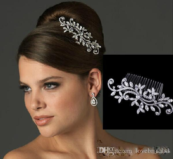 cheap crystal tiaras hair accessories sparkly fancy wedding bridal hair comb jewelry flower bride hair combs in stock wedding headbands crystal wedding