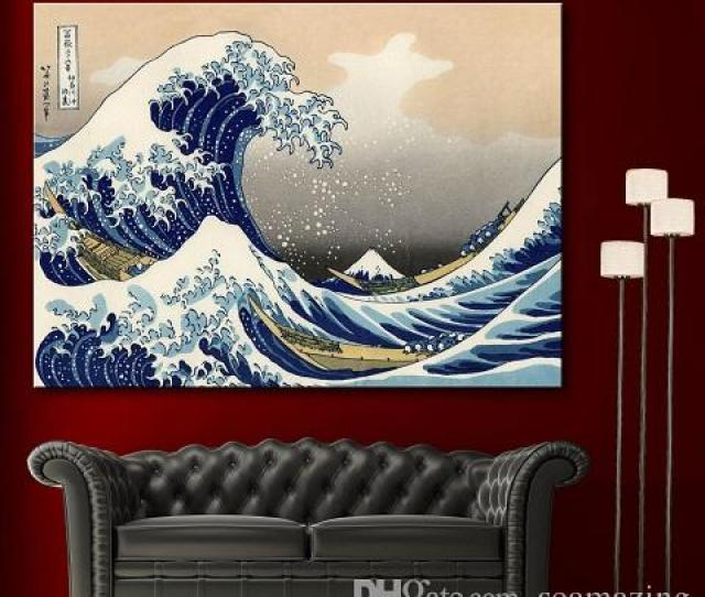 Framed High Quality Katsushika Hokusai The Great Wave Off Kanagawa Decor Fine Home Wall Art Oil Painting On Canvas Various Sizes Sc Framed Handpainted
