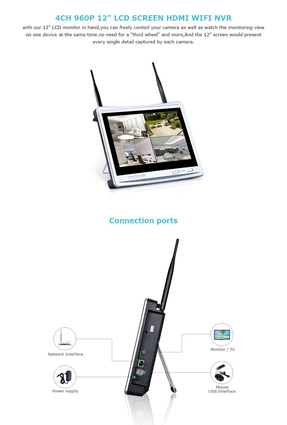 2018 P2p Plug And Play 4ch 12 Inch Lcd Monitor Wireless