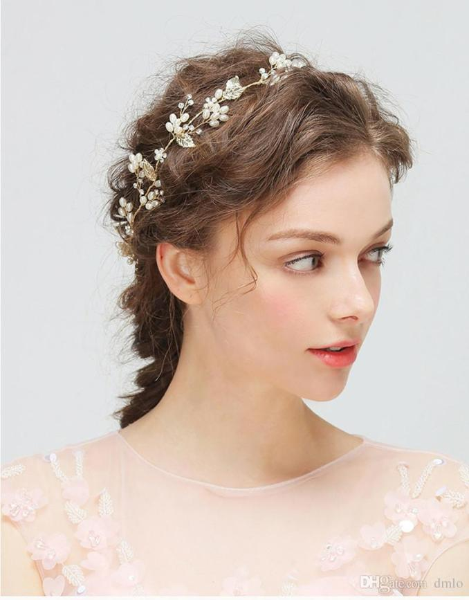 wedding headdress bridal headband gold hair accessories hair jewelry for bride crystal pearl delicate metal leaf pure handmade headpiece