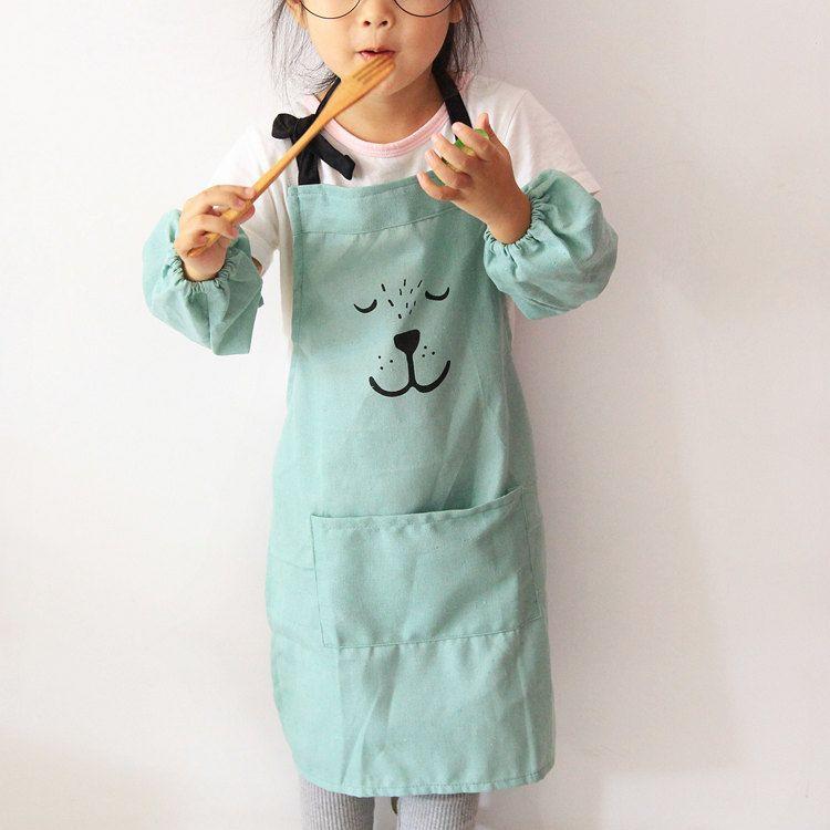 kitchen apron for kids base cabinet plans free beauty cute cartoon emoji children sleeves set lain cooking baking painting art bib
