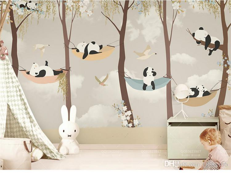 Baby Girl Pattern Wallpaper Tuya Art Wallpaper For Kid Room Cartoon Panda S Play