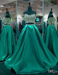 Cheap two piece emerald green prom dresses off shoulder long backless formal party dress girls plus size evening gowns custom made jj le also rh dhgate