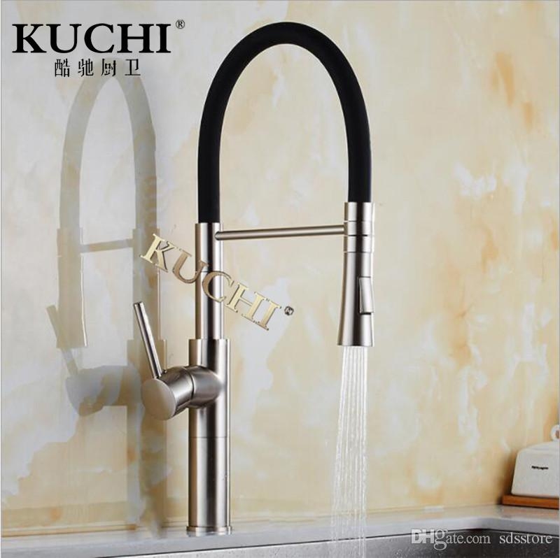 kitchen pull down faucet brushed stainless steel undermount sink kuchi 9112a silver new cold hot bathroom