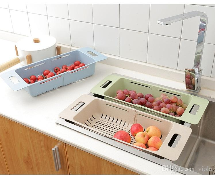 kitchen drainer basket small islands on wheels 2019 extensible sink dish home vegetable fruit washing racks wheat straw bowl plate draining rack from viola 4 07 dhgate com