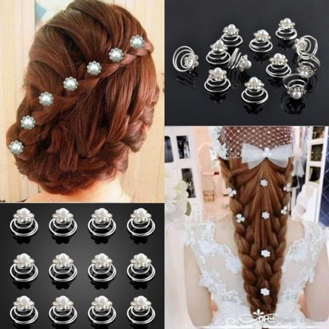 bright crystal flower pearl spiral hair clips twists hairpins for wedding prom rhinestone headpiece hair accessories
