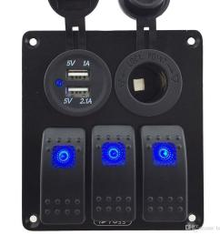 zookoto 3 gang rocker switch panel with power socket 3 1a dual usb wiring kits and decal sticker labels dc12v 24v for marine boat car blue buy usb charger  [ 1000 x 945 Pixel ]