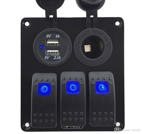 small resolution of zookoto 3 gang rocker switch panel with power socket 3 1a dual usb wiring kits and decal sticker labels dc12v 24v for marine boat car blue buy usb charger