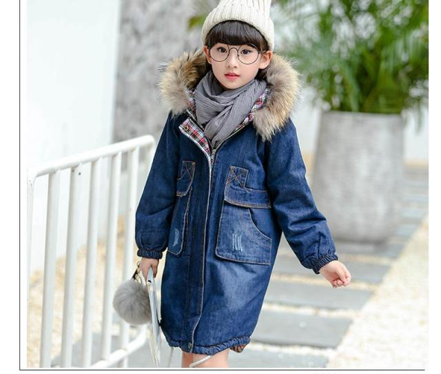 New Arrival Hot Sale Pydownlake Big Teens Girls Denim Outerwear Children Winter Hooded Coats Kids Warm Jeans Jacket Thick Long Clothes Girls Winter
