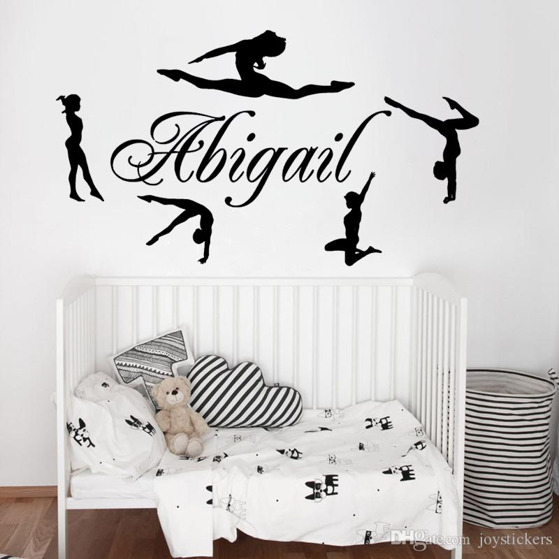 personalized name gymnasts vinyl wall decals custom girls name