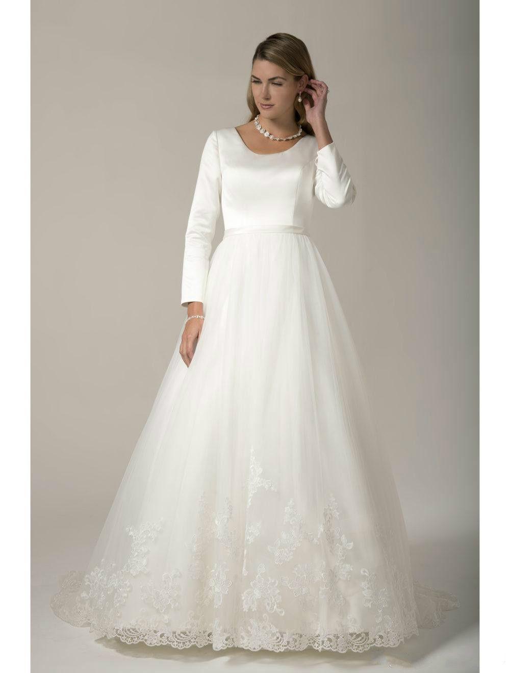 Discount Vintage White Satin Long Sleeve Wedding Dresses