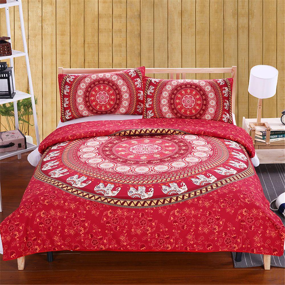 acheter elegant doux lit dans un sac literie ensemble reine elephant imprimer housse de couette ensemble usa taille mandala modele rouge de 30 15 du