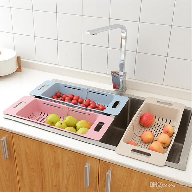 kitchen drainer basket seat cushions ikea 2019 stretchable home sink dish plate vegetable 2 x draining racks