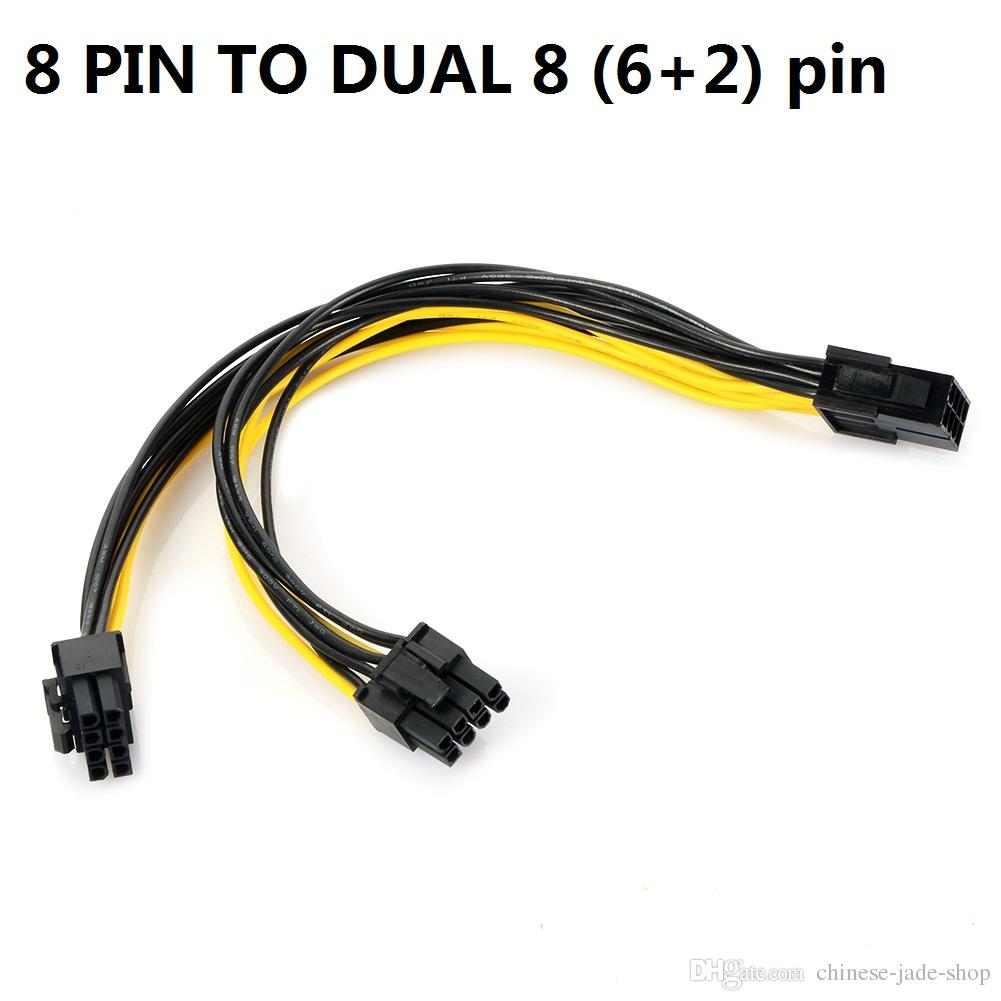 hight resolution of 8 pin pci express to 2 x pcie 8 6 2 pin motherboard graphics video card pci e gpu vga splitter hub power cable 25cm 18awg laptop cables cheap computer