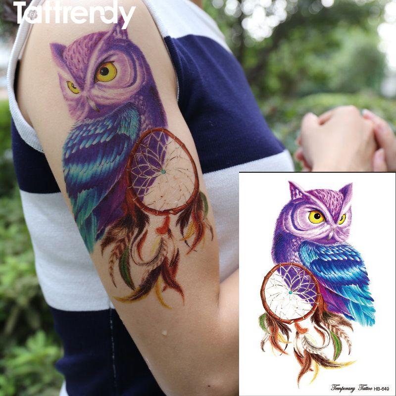 1 Pieza Del Tatuaje Temporal Del Color Del Búho Tatuajes Del