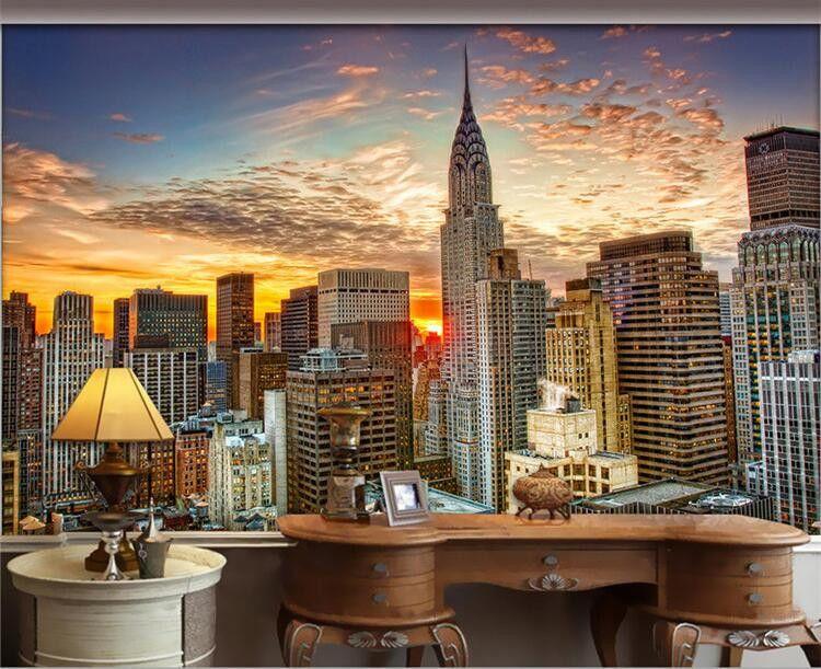 Photo Wallpaper Beautiful New York City Sunset Landscape