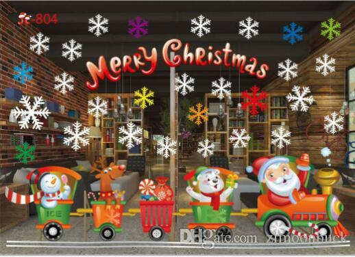 Christmas Decoration Window Glass Stickers Merry Snow Pvc Removable Wall Sticker For Xmas Home Decals Outdoor Present