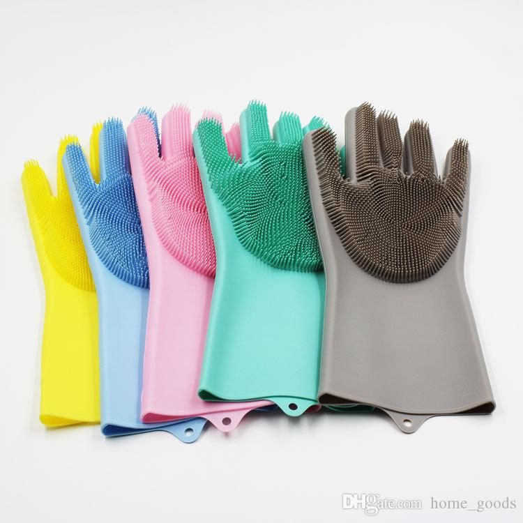 kitchen gloves white sinks silicone dishwashing glove bed bathroom cleaning tool scrubber heat insulation housework brush clean