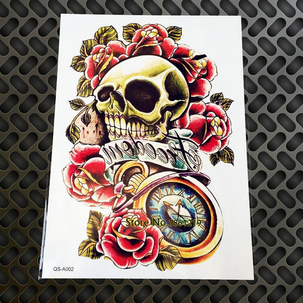 Nueva Pistola Y Rosas Cráneo De La Muerte Pegatinas Temporales Del Tatuaje De La Vieja Escuela Gqs A002 Falso Hombro De Halloween Mano Reloj De