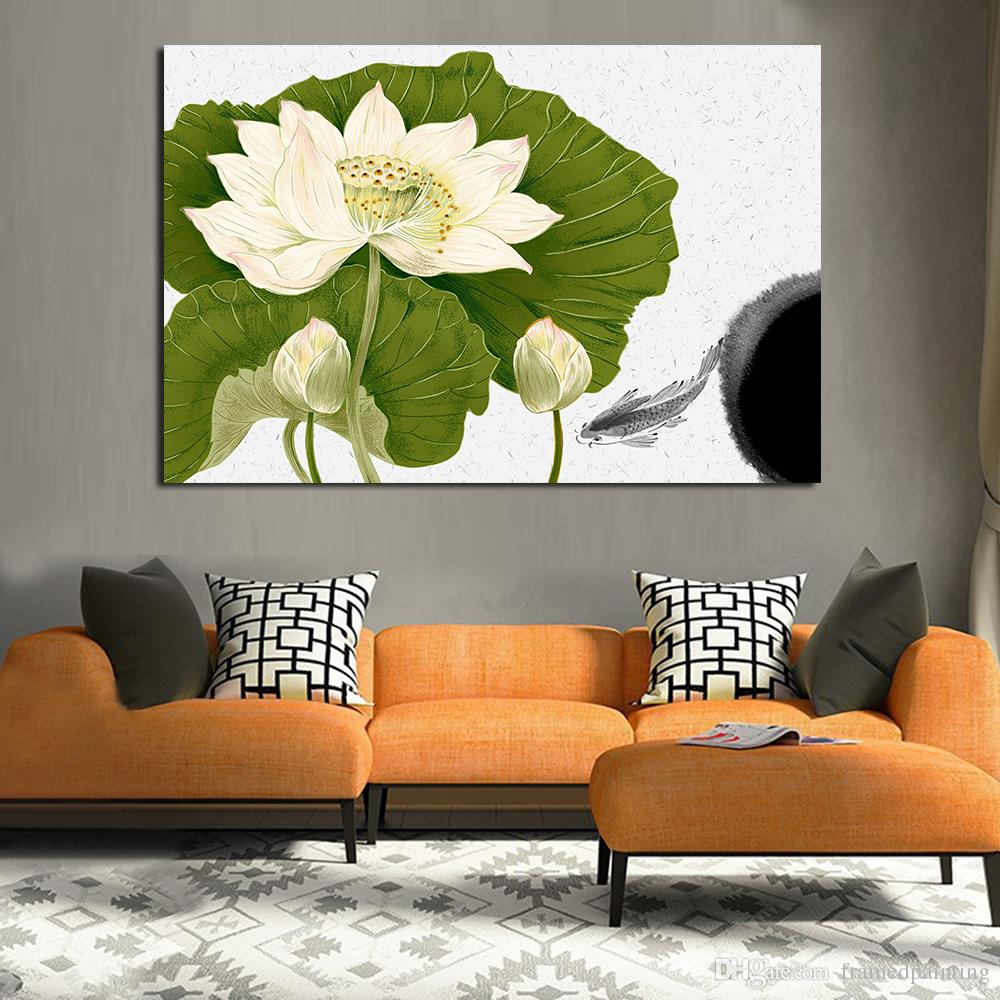 paintings for living room colour schemes rooms with brown leather sofa 2019 lotus leaf oil painting wall on note as the lighting effects objects maybe a little different to pictures