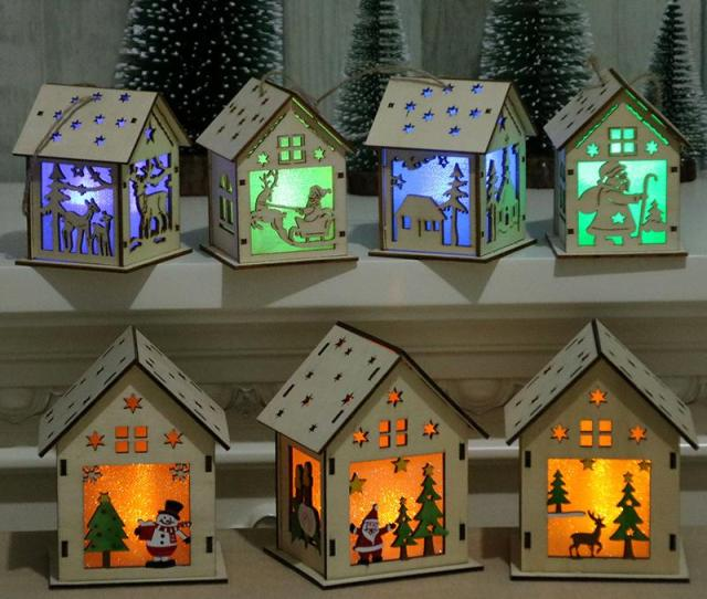 Santa Claus Wood House With Lights Led Christmas Lamp Party Decoration Pendant Children Gift Hot Sale 7yh C Best Novelties Best Novelty Gifts From Bd001