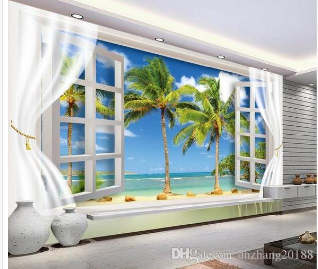 Window Scenery Beach D Tv Background Wall Mural D Wallpaper D Wall Papers For Tv Backdrop Wallpapers For Free Wallpapers For Hd From Dhzhang