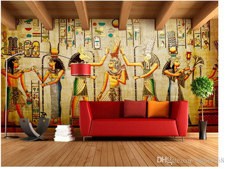 3d Stereo European Retro Art Egyptian Theme Bar Cafe