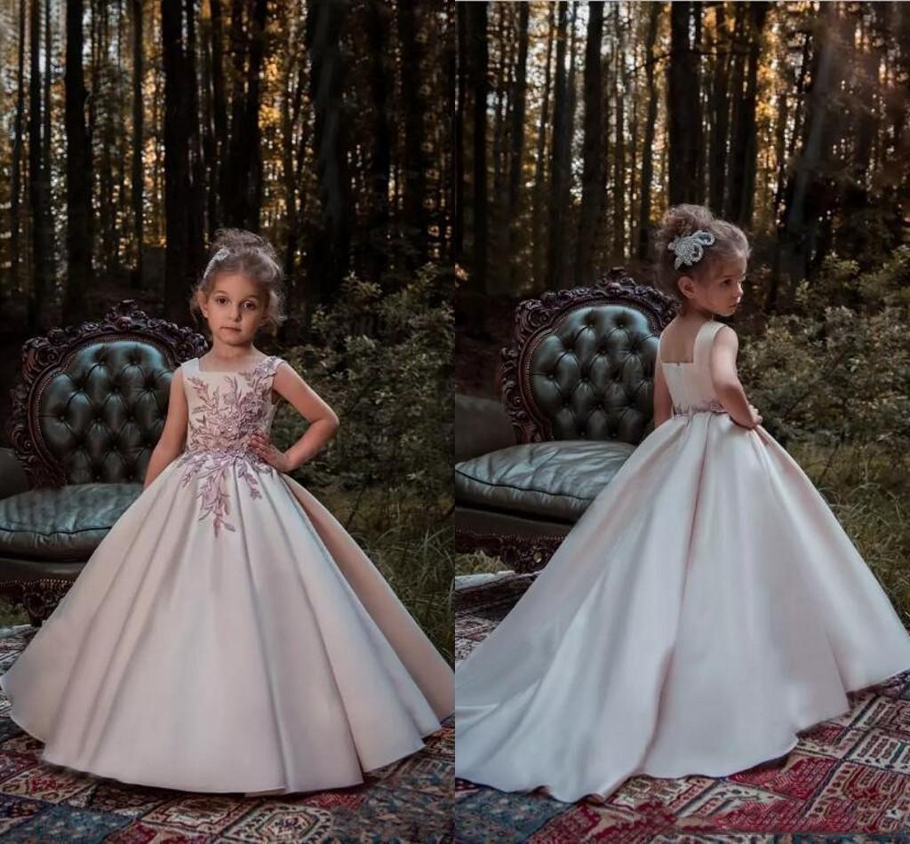 Ruthshen Luxus Stickerei Blume Mädchen Kleider Kinder Prom Party Ballkleid Bodenlangen Pageant Kleid Vestidos De Comunion 2018 Hochzeits-partykleid