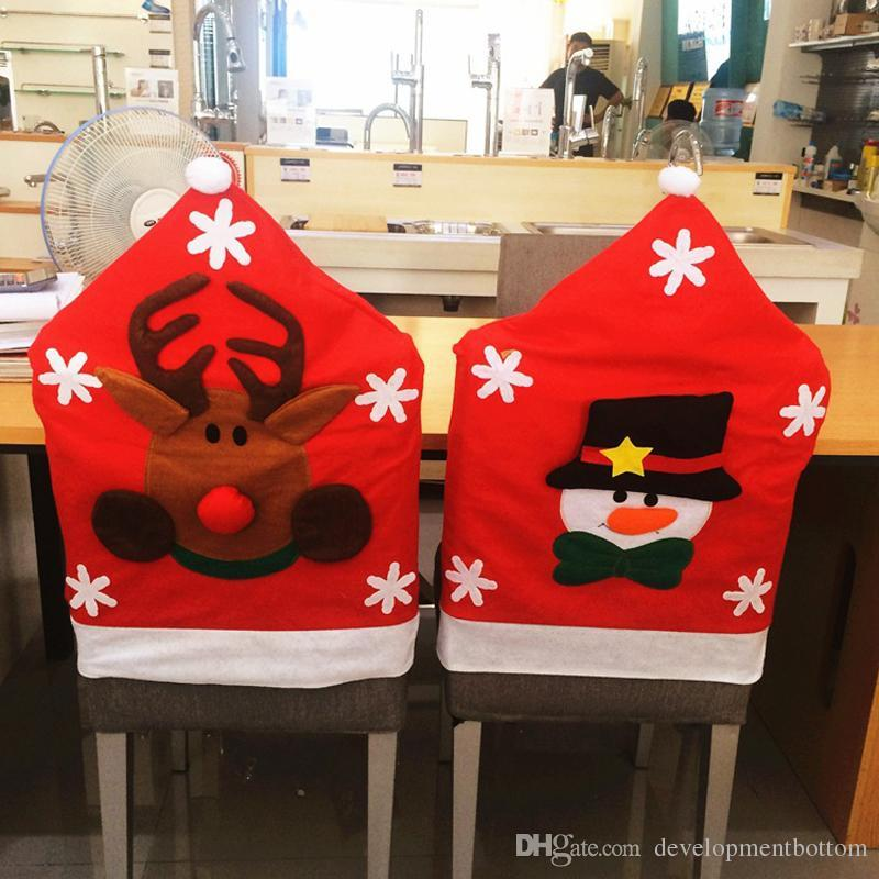 christmas elf chair covers car service cute cover no woven santa claus reindeer pattern dinner party set ornaments for outdoor from
